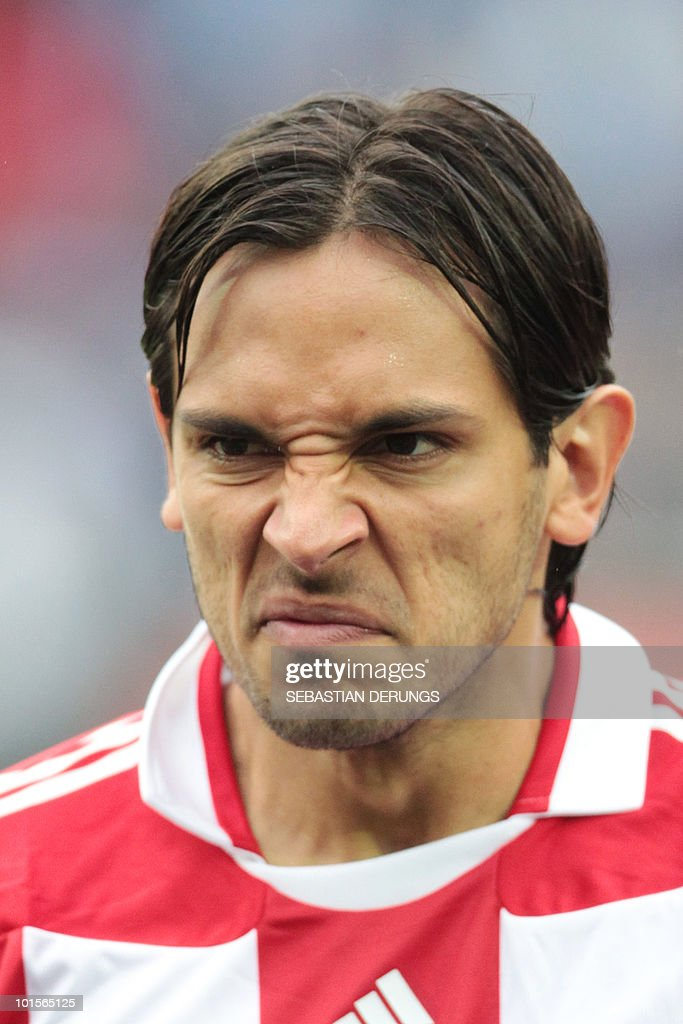 Paraguay's Roque Santa Cruz grimaces before a friendly football game against Greece in Winterthur on June 2, 2010 ahead of their participation to the FIFA World Cup 2010 in South Africa.