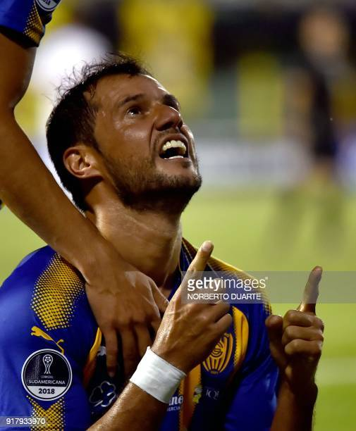 Paraguay's Sportivo Luqueno player Fredy Bareiro celebrates after scoring against Ecuador's Deportivo Cuenca during their Copa Sudamericana football...