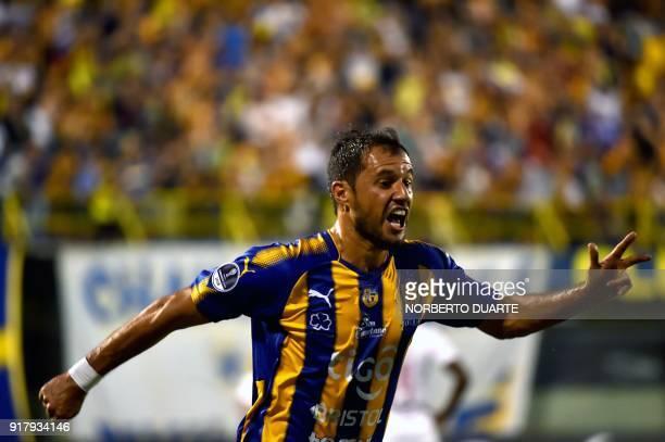 Paraguay's Sportivo Luqueno player Fredy Bareiro celebrates after scoring against Ecuador's Deportivo Cuenca during their Copa Sudamericana football...