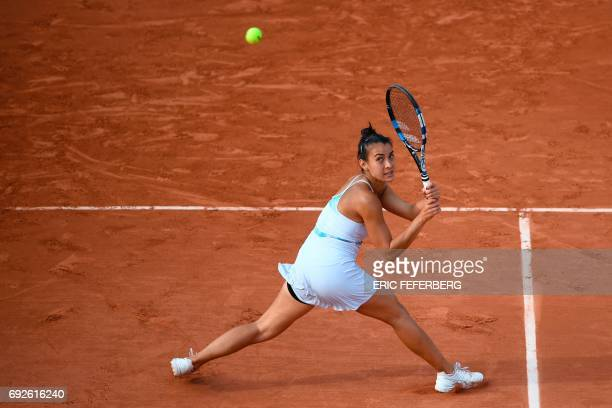 Paraguay's Veronica Cepede returns the ball to Czech Republic's Karolina Pliskova during their tennis match at the Roland Garros 2017 French Open on...