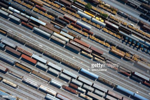 parallel trains - shunting yard stock photos and pictures
