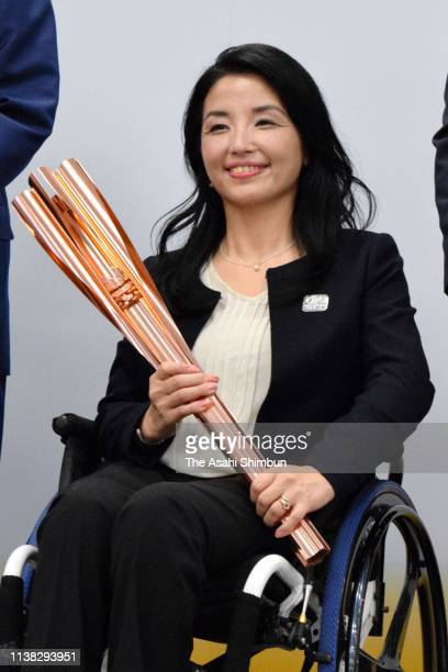 Paralympian Aki Taguchi attends the Tokyo 2020 Paralympic Games torch unveiling press conference on March 25 2019 in Tokyo Japan