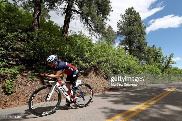 Paralympian and former US Army Officer Melissa Stockwell cycles during a training session on May 27 2020 in Colorado Springs Colorado Athletes across...