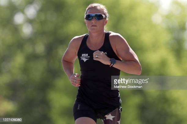Paralympian and former US Army Officer Melissa Stockwell runs during a training session on May 27 2020 in Colorado Springs Colorado Athletes across...