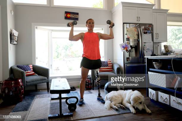 Paralympian and former US Army Officer Melissa Stockwell works on strength during a training session on May 27 2020 in Colorado Springs Colorado...