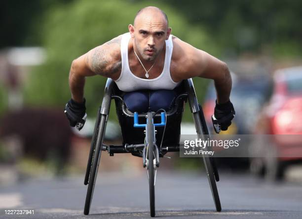 Paralympian Johnboy Smith trains at home during the Coronavirus Pandemic on May 26 2020 in West Kingsdown England