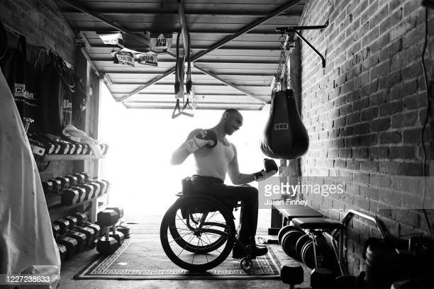 GB Paralympian Johnboy Smith trains at home during the Coronavirus Pandemic on May 26 2020 in West Kingsdown England