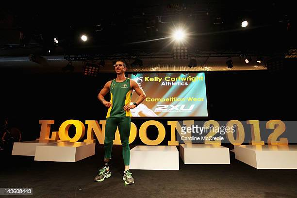 Paralympian Kelly Cartwright showcases the 2012 Australian Paralympic team uniform on the catwalk on day two of MercedesBenz Fashion Week Australia...