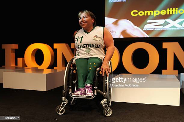 Paralympian Kylie Gauci showcases the 2012 Australian Paralympic team uniform on the catwalk on day two of MercedesBenz Fashion Week Australia...