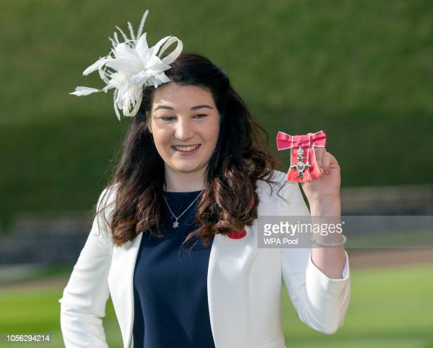 Paralympian Menna Fitzpatrick with her MBE medal following an Investiture ceremony at Windsor Castle on November 2 2018 in Windsor England