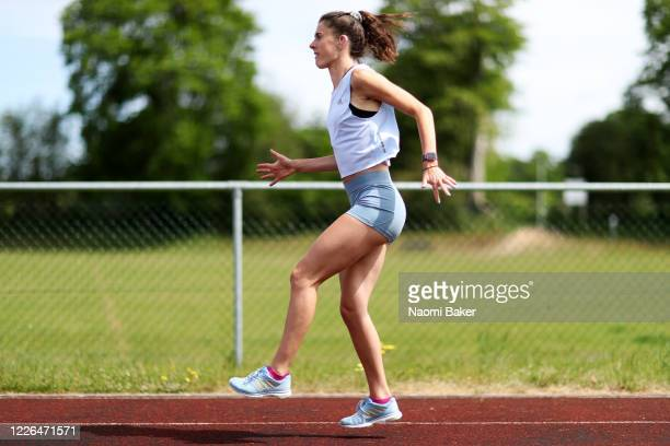 Paralympian Olivia Breen of Great Britain continues to train in isolation at a local running track near to her Family home in Liphook on May 22 2020...