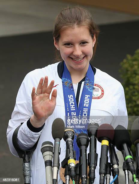 Paralympian Stephanie Jallen speaks to the media while visiting the White House on April 3 3014 in Washington DC President Barack Obama and first...