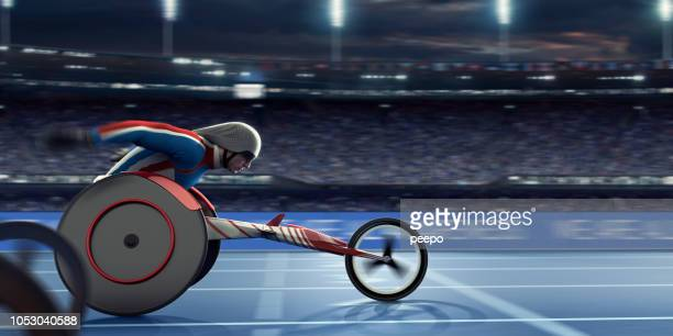 Paralympian Wheelchair Athlete Speeding Towards Finish Line In Race