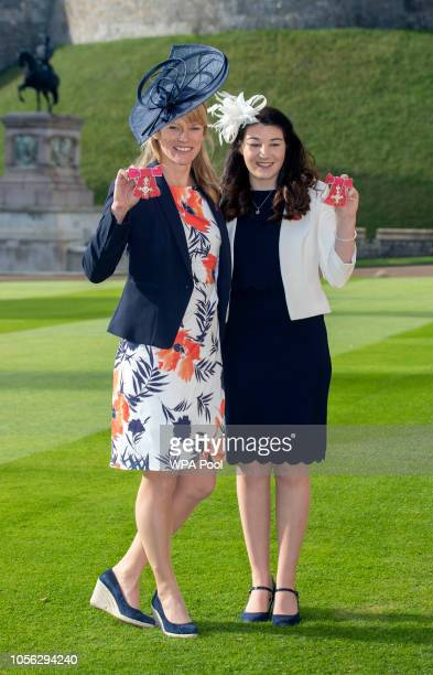 Paralympians Captain Jennifer Kehoe Royal Engineers and Menna Fitzpatrick with their MBE medals following an Investiture ceremony at Windsor Castle...