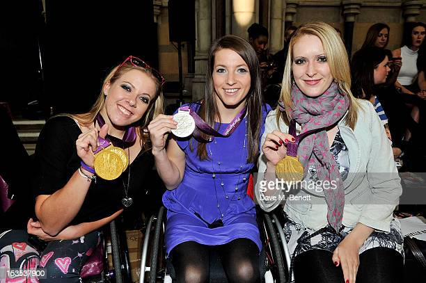 Paralympians Hannah Cockcroft Nyree Kindred Danielle Brown sit in the front row at The LOOK Show in association with Smashbox Cosmetics at the Royal...