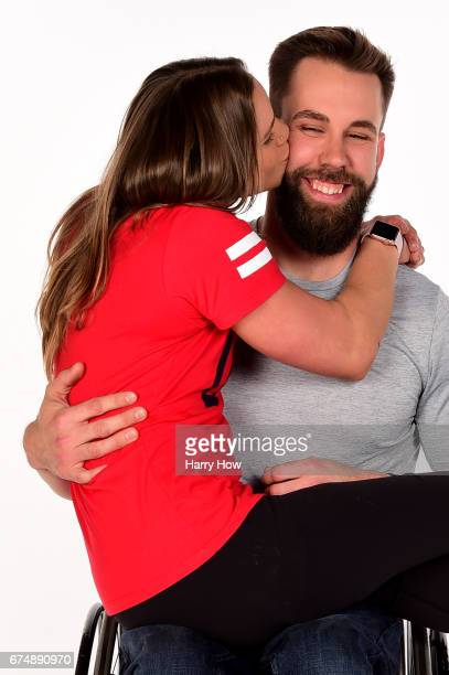 Paralympians Oksana Masters and Aaron Pike pose for a portrait during the Team USA PyeongChang 2018 Winter Olympics portraits on April 29 2017 in...