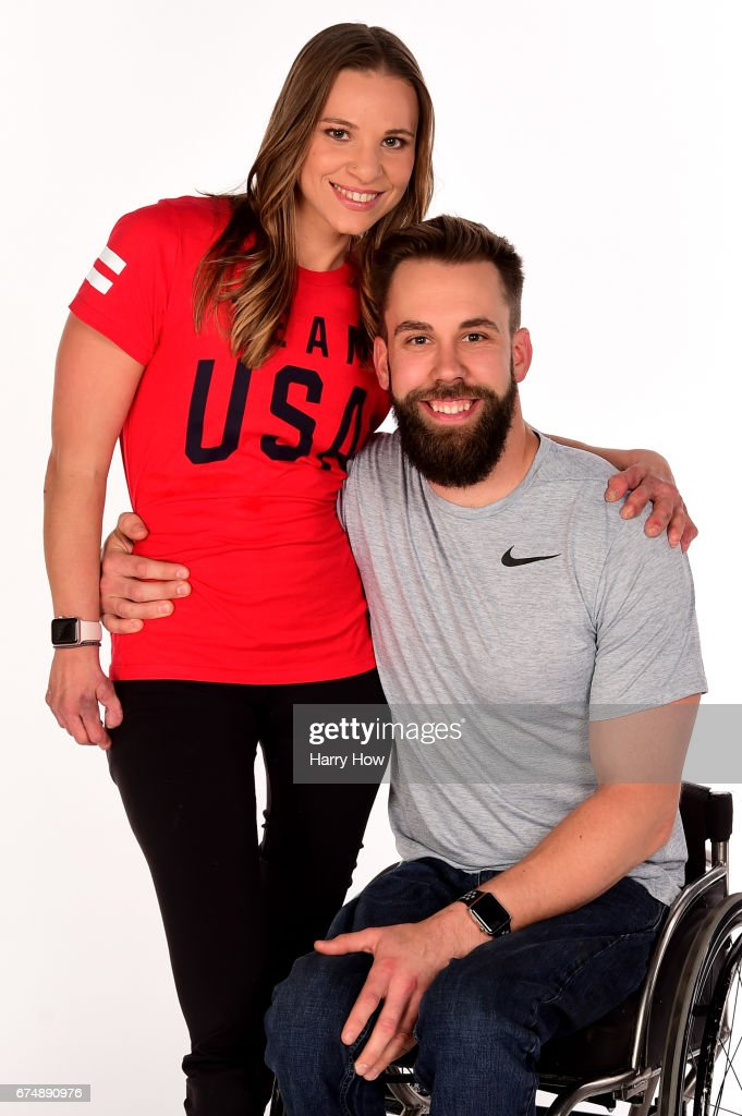 Paralympians Oksana Masters and Aaron Pike pose for a portrait during the Team USA PyeongChang 2018 Winter Olympics portraits on April 29, 2017 in West Hollywood, California.