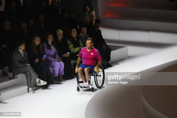 Paralympic athelete David Wagner is seen on the runway during the 2020 Tokyo Olympic collection fashion show at The Shed on February 05 2020 in New...