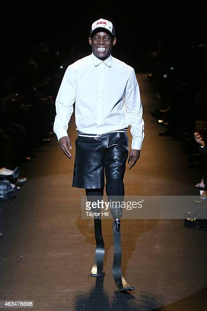 Paralympic athlete Blake Leeper walks the runway during Naomi Campbell's Fashion For Relief 2015 fall fashion show at The Theater at Lincoln Center...