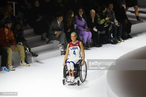 Paralympic basketball player Megan Blunk is seen on the runway during the 2020 Tokyo Olympic collection fashion show at The Shed on February 05 2020...