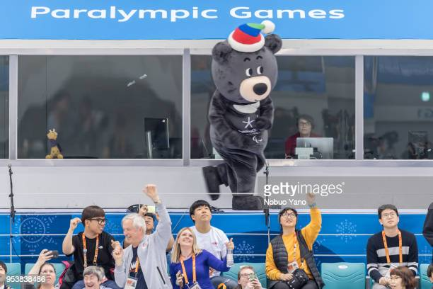 Paralympic Games mascot Bandabi cheer during the Men's Ice Hockey Playoffs Semifinals betwen KOREA and CANADA on day 6 of the PyeongChang 2018 Winter...