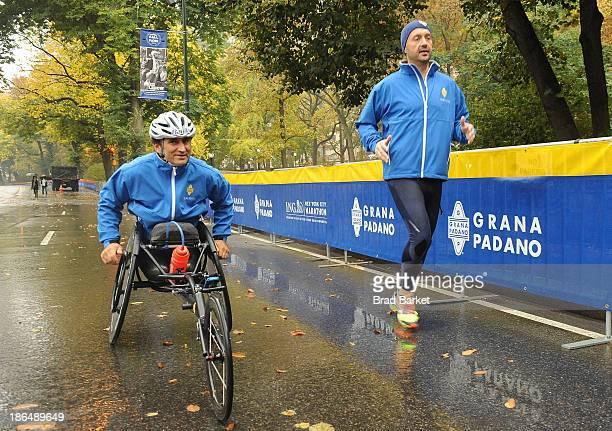 Paralympic gold medalist and Racing Great Alex Zanaradi and Chef Joe Bastianich attend the Grana Padano Events NYC MArathon Events on October 31 2013...