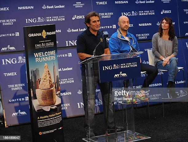 Paralympic gold medalist and Racing Great Alex Zanaradi Chef Joe Bastianich and Elisabetta Serraiotto attend the Grana Padano Events NYC MArathon...