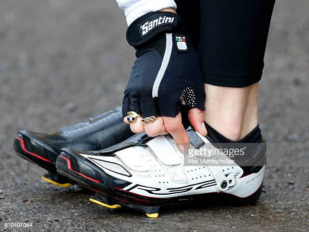 Paralympic gold medalist Dame Sarah Storey Sophie adjusts her cycling shoes before departing RAF Halton with Sophie Countess of Wessex on the last...