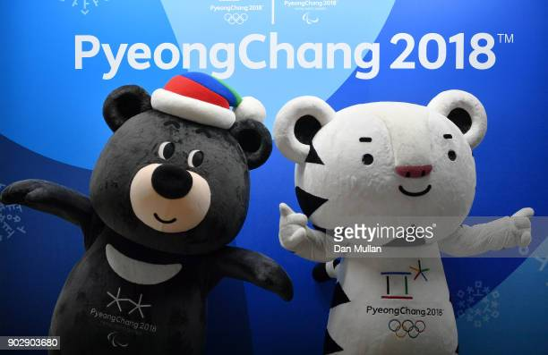 Paralympic Mascot Bandabi poses alongside Olympic Mascot Soohorang during the UK Sport Medal Target Announcement for Pyeongchang 2018 Winter Olympic...