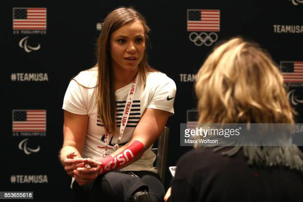 Paralympic Nordic Skiier Oksana Masters addresses the media during the Team USA Media Summit ahead of the PyeongChang 2018 Olympic Winter Games on...
