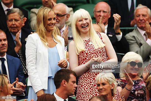 Paralympic skier Kelly Gallagher and her guide Charlotte Evans in the royal box on centre court on day six of the Wimbledon Lawn Tennis Championships...