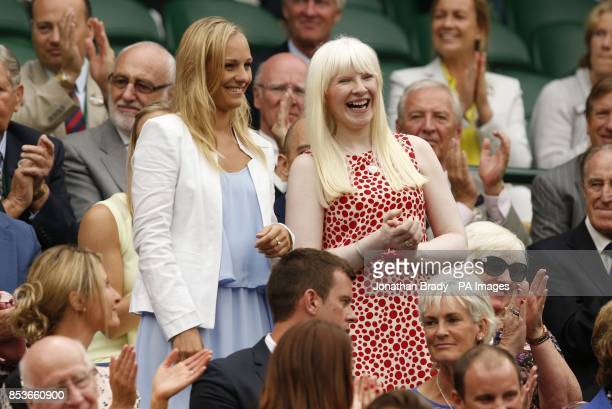 Paralympic skiiers Kelly Gallagher and Charlotte Evans in the Royal Box on Centre Court during day six of the Wimbledon Championships at the All...