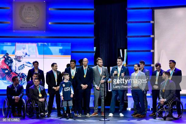 S Paralympic Sled Hockey Team accepts the Paralympic Team of the Games presented by Dow during the Team USA Awards at the Duke Ellington School of...