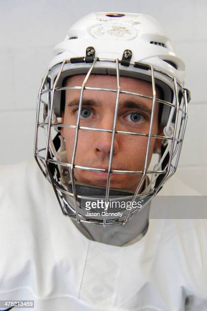 S Paralympic Sled Hockey Team athlete Andy Yohe poses for a portrait prior to the team's practice at the Sertich Ice Arena on February 26 2014 in...
