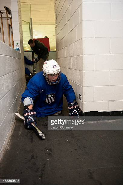 S Paralympic Sled Hockey Team athlete Paul Schaus returns to the team locker room at the end of practice at the Sertich Ice Arena in Colorado Springs...