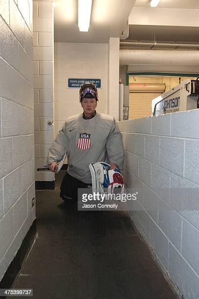S Paralympic Sled Hockey Team goalie Jen Yung Lee leaves the team dressing room while attending practice at the Sertich Ice Arena in Colorado Springs...