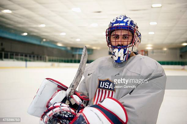 S Paralympic Sled Hockey Team goalie Steve Cash poses for a portrait after the team's final US based practice at the Sertich Ice Arena in Colorado...