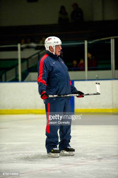 S Paralympic Sled Hockey Team Head Coach Jeff Sauer watches his team as they practice while at the Sertich Ice Arena on February 26 2014 in Colorado...