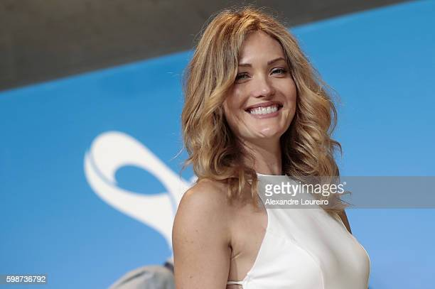 Paralympic snowboarder medalist Amy Purdy poses for a picture during the 2016 Rio Paralympics Opening Ceremony Press Conference at Maracana Stadium...