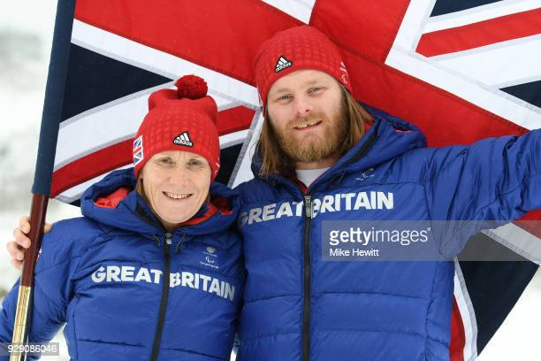 Paralympic snowboarder Owen Pick of Great Britain poses for a photo with ParalympicsGB Chef de Mission Penny Briscoe after being chosen as flag...
