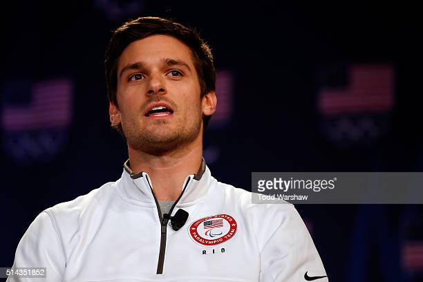 Paralympic sprinter Jarryd Wallace addresses the media at the USOC Olympic Media Summit at The Beverly Hilton Hotel on March 8 2016 in Beverly Hills...