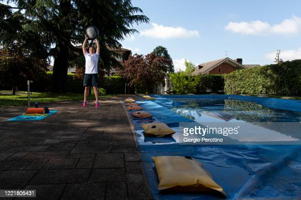 Paralympic swimmer Carlotta Gilli, current world champion in S13 category, trains in isolation on April 29, 2020 in Turin, Italy. Athletes across the...