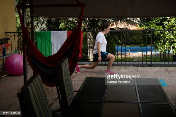 Paralympic swimmer Carlotta Gilli current world champion in S13 category trains in isolation on April 29 2020 in Turin Italy Athletes across the...