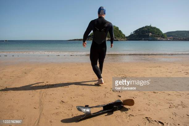 Paralympic swimmer Iñigo Llopis prepares to swim for the first time since the confinement began on May 04 2020 in San Sebastian Spain Spain is...