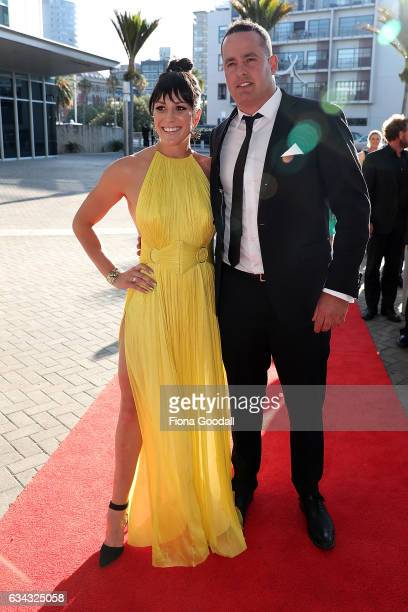 Paralympic swimmer Sophie Pascoe and parter arrive at the 54th Halberg Awards at Vector Arena on February 9 2017 in Auckland New Zealand