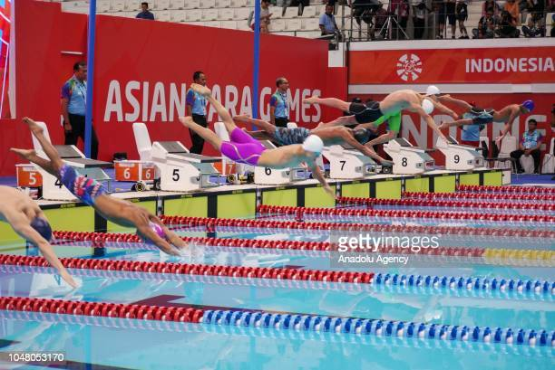 Paralympic swimmer start the men's 100m freestyle s6 final at Aquatic Stadium in Jakarta Indonesia on 9 October 2018