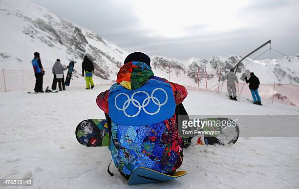Paralympic volunteers snowboard at the Gornaya Karusel ski area on March 3 2014 ahead of the 2014 Paralympic Winter Games in Sochi Russia