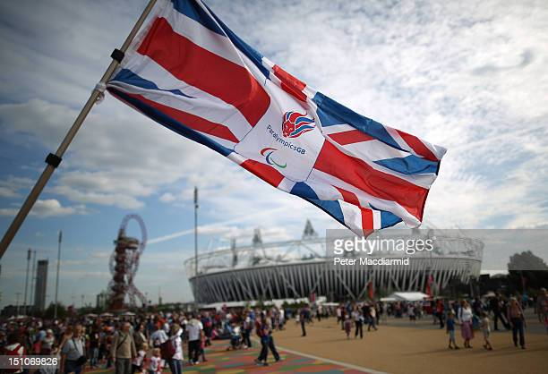 Paralympics GB flag is waved near the stadium at the London 2012 Paralympic Games on August 31 2012 in London England