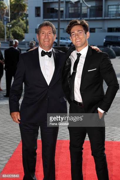 Paralympics sprinter Liam Malone and his father Murray Malone arrive at the 54th Halberg Awards at Vector Arena on February 9 2017 in Auckland New...