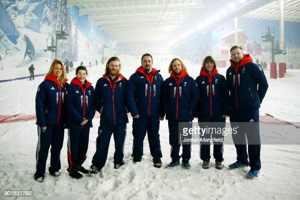 ParalympicsGB athletes Jennifer Kehoe Menna Fitzpatrick Owen Pick Ben Moore James BarnesMiller Millie Knight and Brett Wild pose for a photo during...
